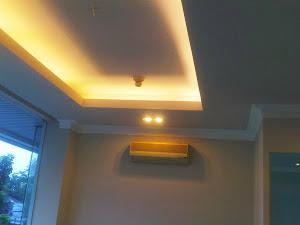 plafon gypsum drop lampu pendar