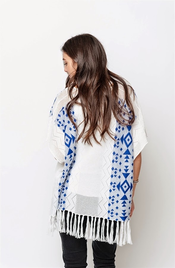 Buy online indigo fringed poncho for women on sale at caralase.com