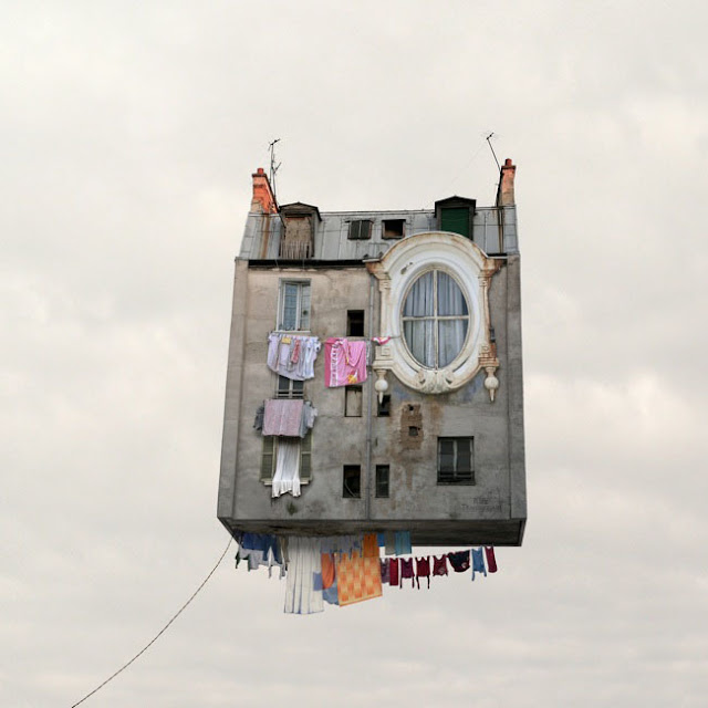 Casas,voladoras,Laurent Chehere,Fying,houses,francia,france,paris,19th, 20th,arrondissement,ropa,tendida,windows,ventanas