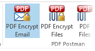 Image shows PDF Encrypt Email button selected in PDF Postman, Outlook 2013.