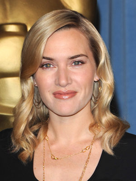 Super-smooth strands and a delicate wave add luster to Kate Winslet's shoulder-length hairstyle.