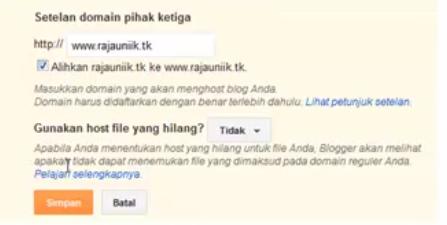 Cara Terbaru Custom Domain Blogger dan Setting DNS Dot TK