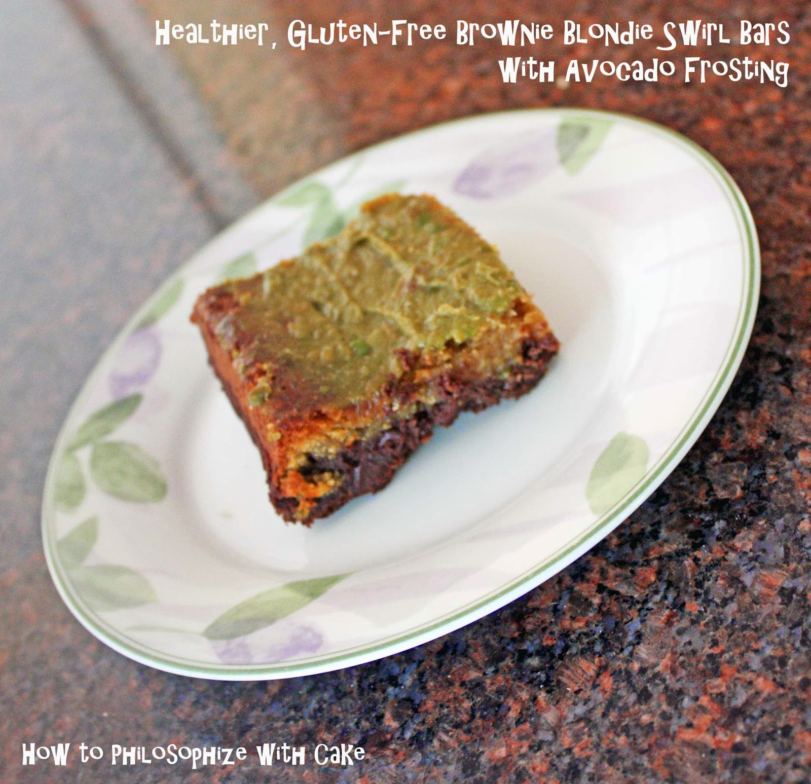 healthier, gluten free blondie brownie swirl bars with avocado frosting how to philosophize with cake
