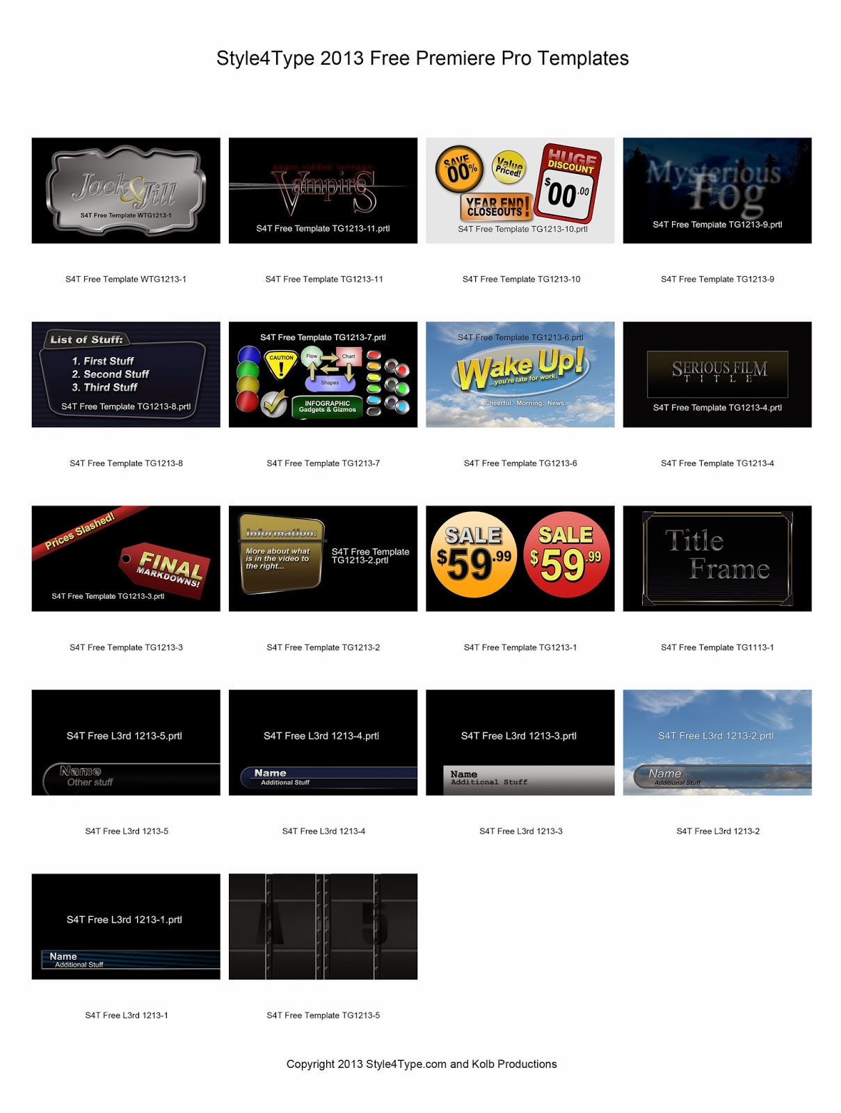 Style4type s4t 2013 free templates available as a single for Free premiere pro templates
