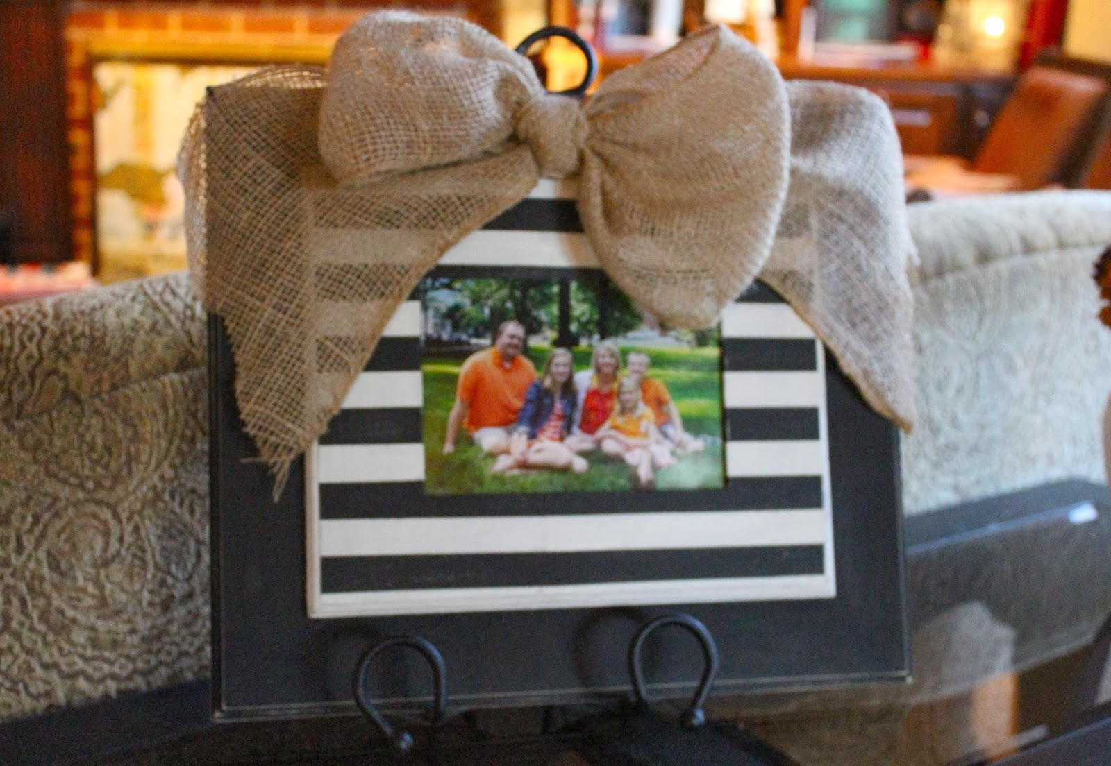 Antsi-Pants: Stacked Wood Frames with Burlap Bow