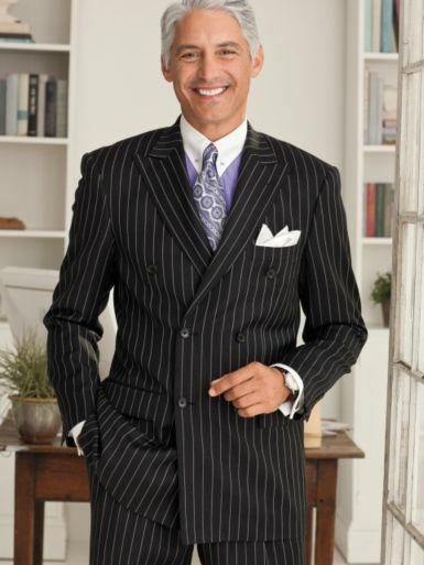 AsEstilo Store: MEN's BLACK and WHITE PINSTRIPE SUIT