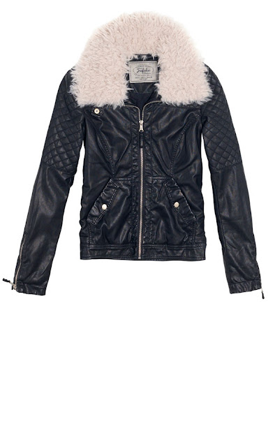 Leather jacket with stitching detail and soft shearling collar AW12 Zara