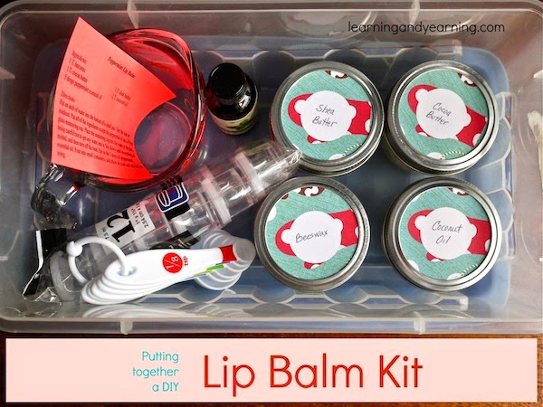 DIY Gift Ideas you can make in Under an Hour. (DIY Lipbalm Kit) The list includes gifts for kids, babies, women, men, and even stocking stuffers, gift wrap, and Christmas decorations.  www.growingslower.com #cheapgift #easydiy