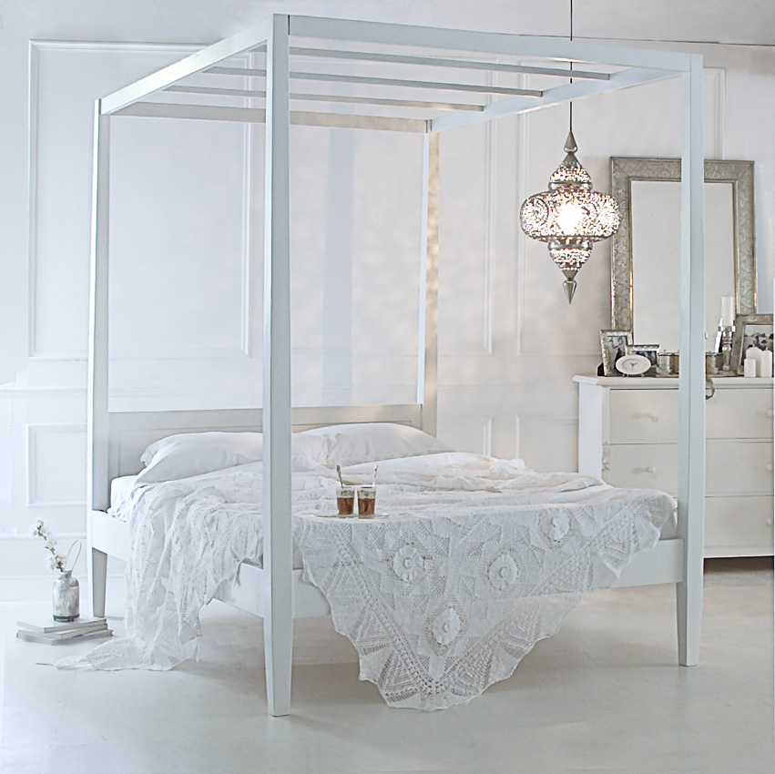 Ideas for bedrooms pure white boho for 4 poster white bed