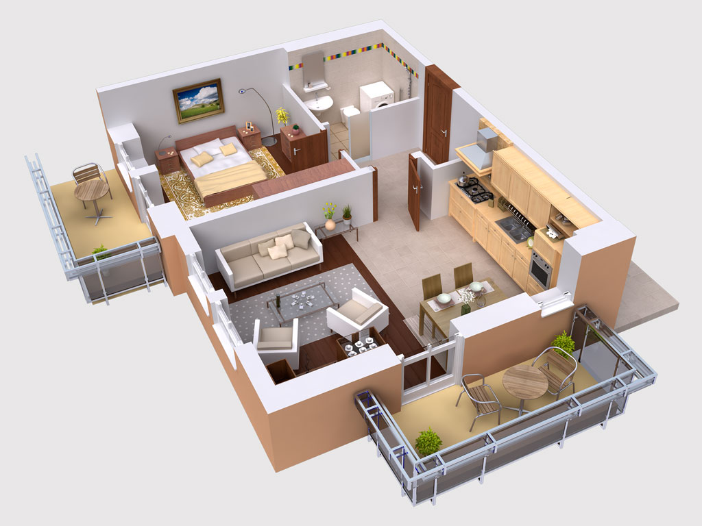 Luckydesigners builders 3d floor plan 3d building design