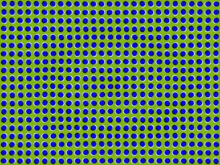 ilusiones opticas, movimiento, akiyoshi kitaoka, arenas movedizas, puntos que se mueven, puntos ondeantes, efectos visuales, ilusiones ópticas,