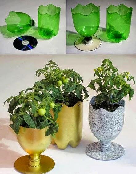 Pot tanaman dari botol plastik