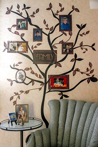 Bless their hearts mom personalize your home with a diy for Diy family tree wall mural