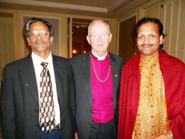 Dr. Abraham Karickam and Biswadeb Chakraborty with Bishop William Swing (Founder of URI)
