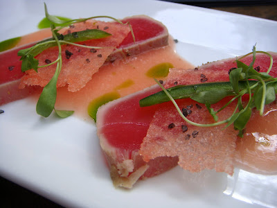 Yellowfin tuna with watermelon at Cava, Portsmouth, NH
