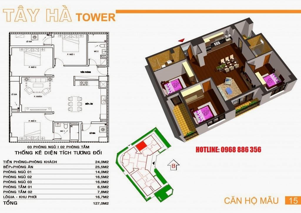 Căn hộ số 15 chung cư Tây Hà Tower