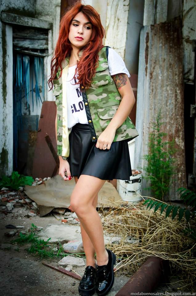 Moda estilo militar, chalecos y faldas plato invierno 2014 Cintia Vergara.