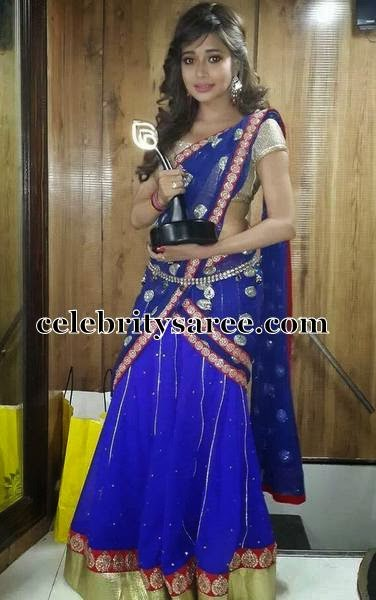 Heroine In Blue Half Saree