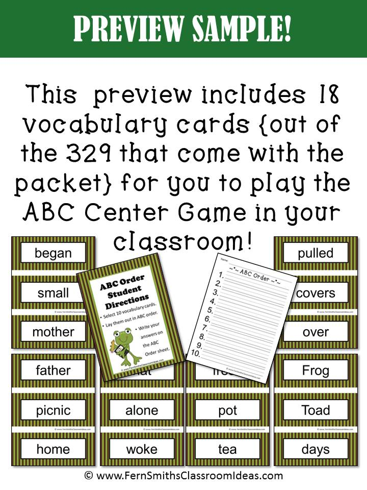 Fern's Freebie Friday ~ FREE ABC Order Center Game with Days with Frog and Toad