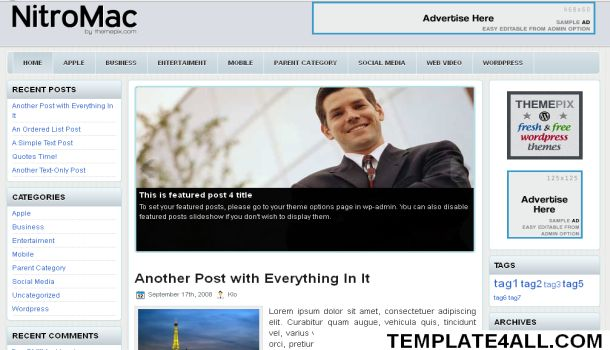 Free Finance Blue Business Wordpress Theme