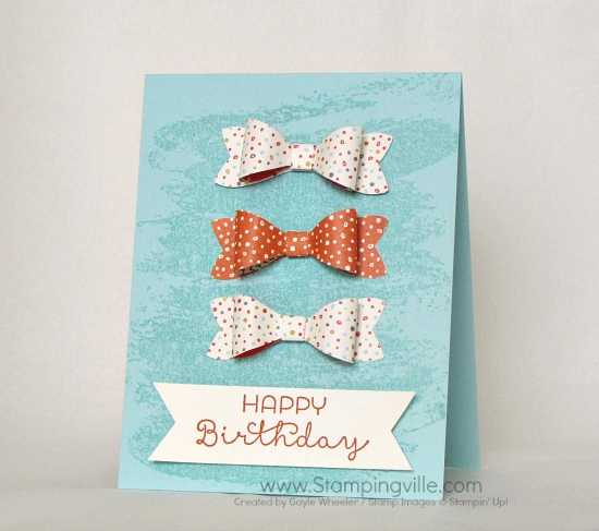 Happy birthday card with bows.