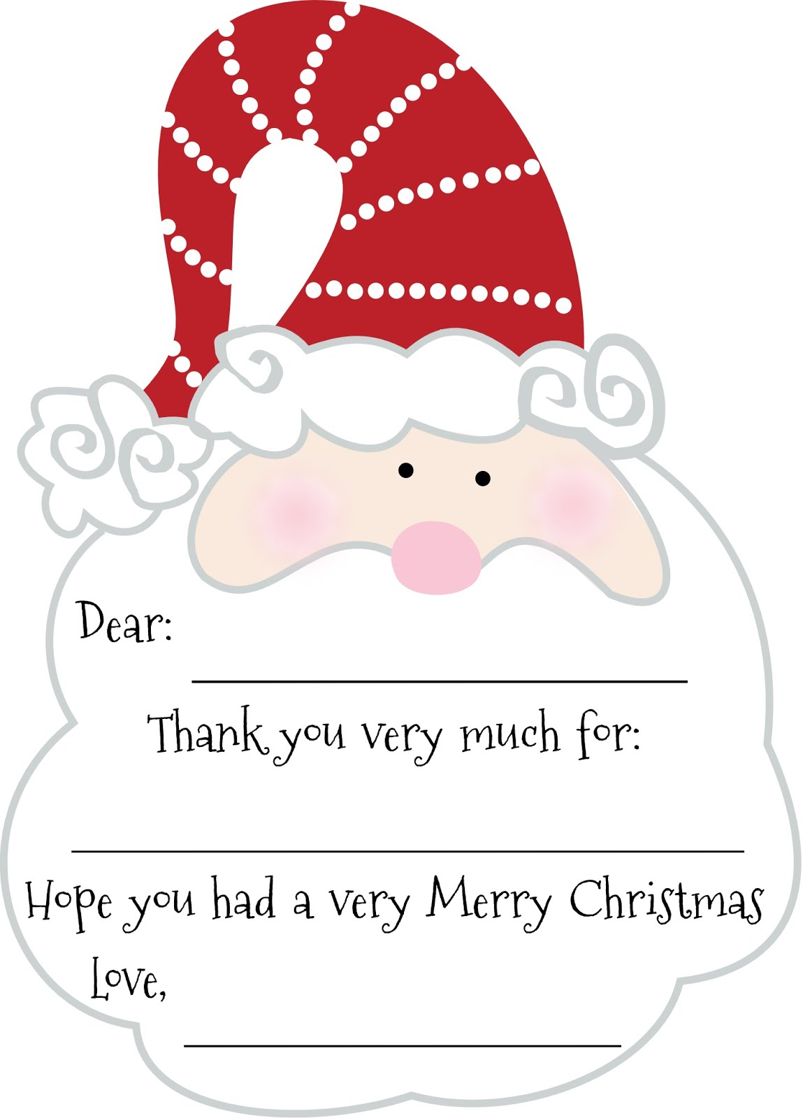 Red Write Returning: Christmas Santa Thank Yous