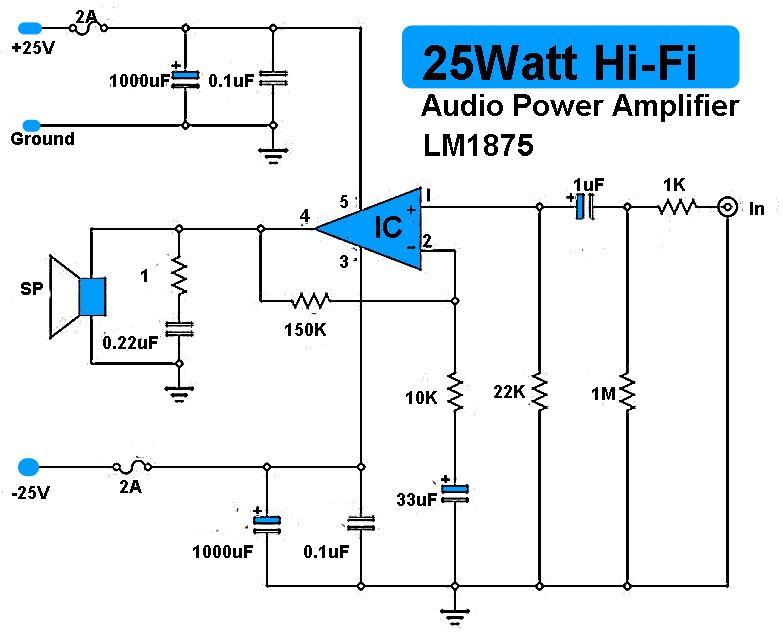 25w hi fi audio amplifier lm1875 wiring circuit rh digschema blogspot com