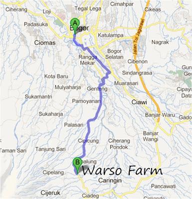 Map / Peta Warso Farm, Kebun durian Warso di bogor