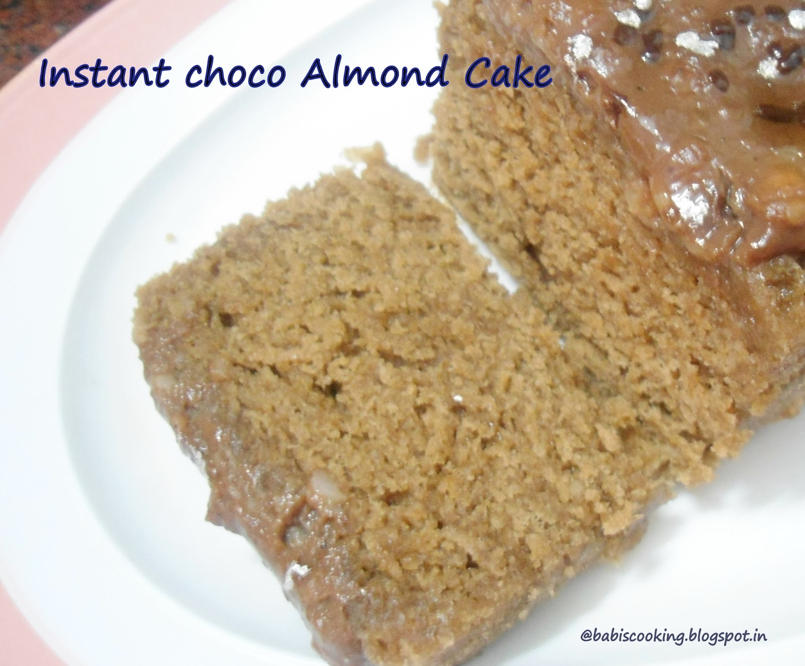 choco almond eggless cake