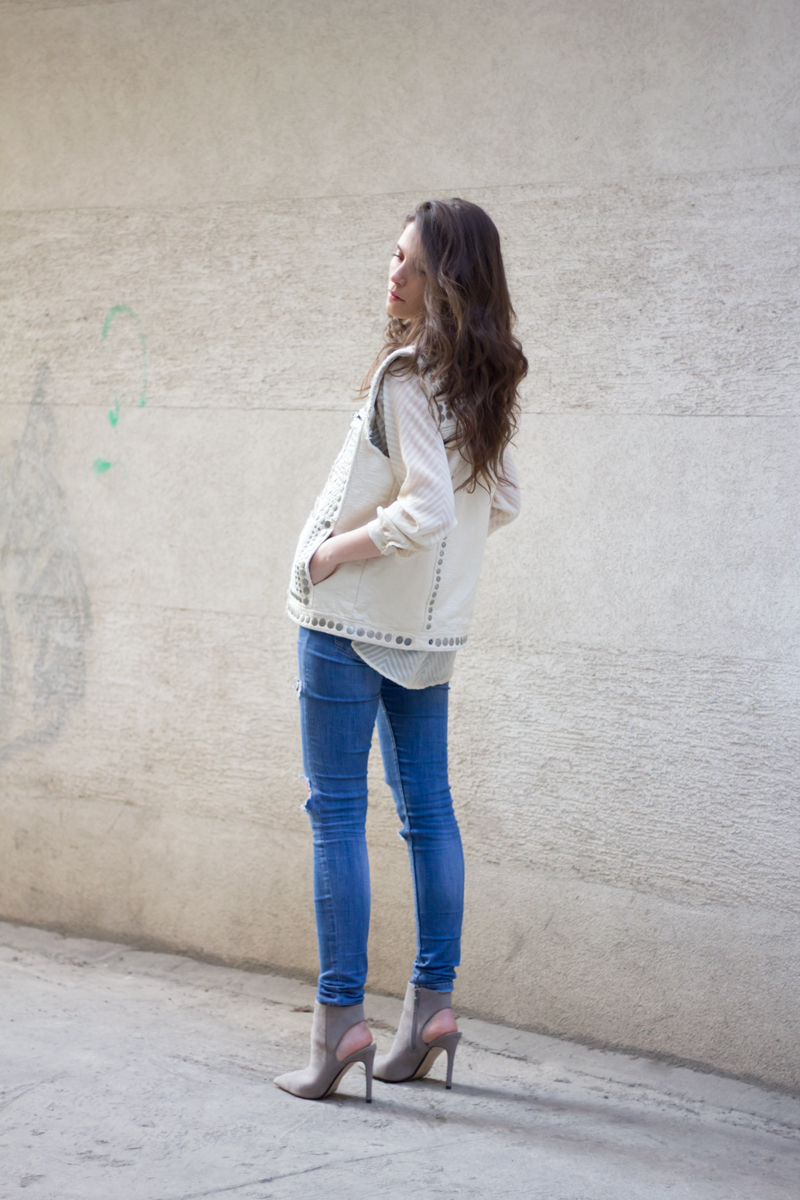 H&M Studded Vest, Zara Jeans, Zara Booties, Mango Jeans on AfterTwoFive.com