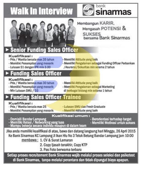 Lowongan Kerja PT. Bank Sinarmas, Tbk Terbaru April 2015 di Lampung