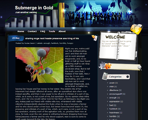 Submerge in Gold Blogger Theme