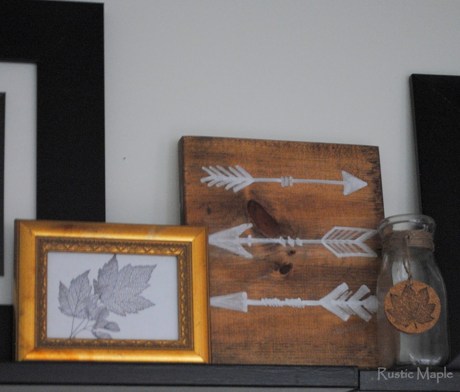 Rustic maple family room gallery wall with picture ledges for one frame i printed out a free maple leaves graphic jeuxipadfo Image collections
