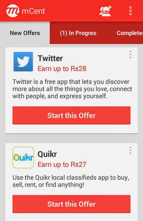 Download 2 Android Apps & Earn Rs 55 Free Recharge from Mcent