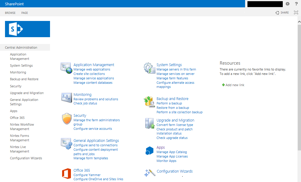 Central administration Page for SharePoint 2013. very sorry for error