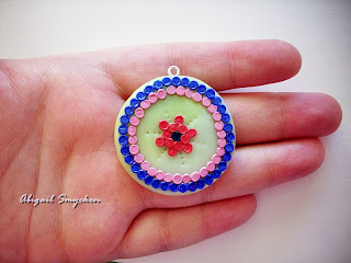 polymer clay pendant, round