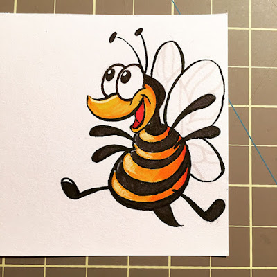 Very happy and excited bee drawing