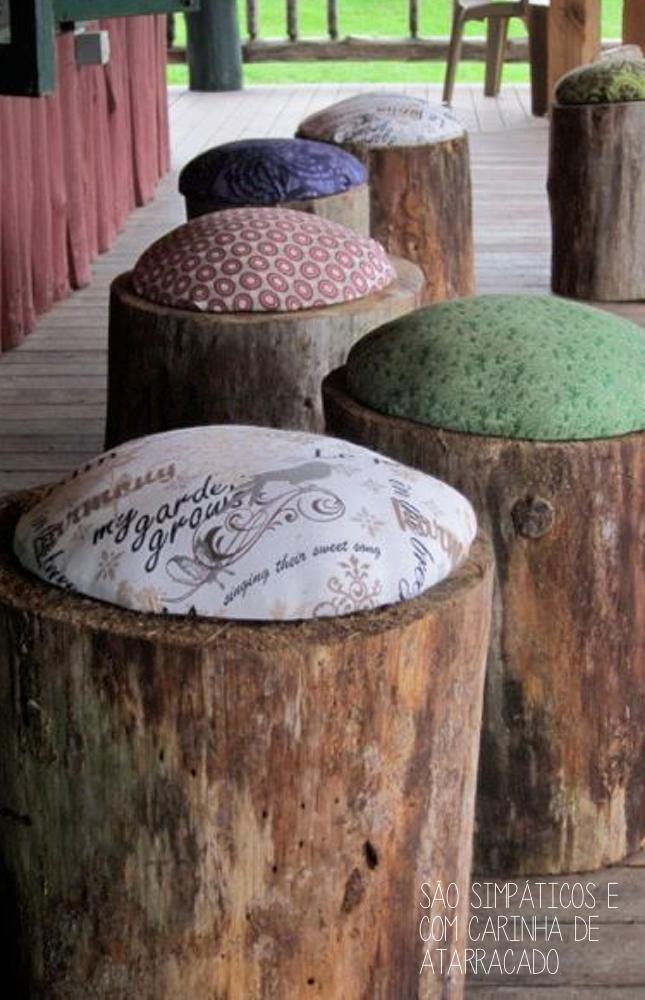 banco feito com tronco de madeira-faça você mesmo