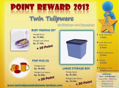 Point Reward Tulipware 2013, Baby Feeding Set, Fine Mug, Large Storage Box
