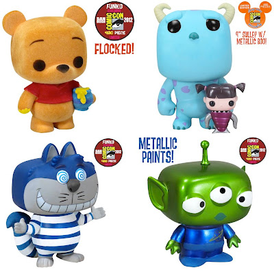San Diego Comic-Con 2012 Exclusive Disney Pop! Vinyl Figures by Funko - Flocked Winnie the Pooh, Monsters, Inc. 2 Pack (9 Inch Sulley and Metallic Boo), Blue Cheshire Cat & Metallic Alien