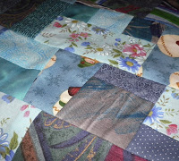 made fabric crazy quilt block turquoise