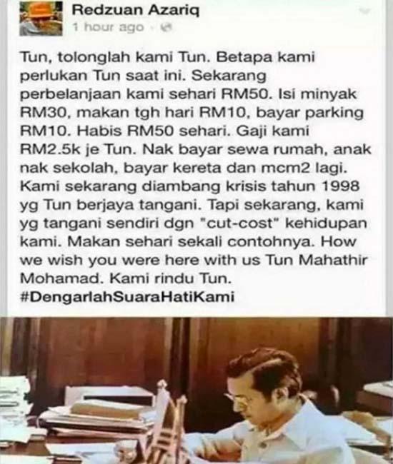 'Tun M Tolonglah Kami, Belanja Pergi Kerja RM50 Sehari' – Rintihan Rakyat Buat Tun Mahathir