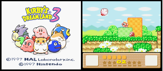 Title screen of Kirby's Dream Land 3 and screenshot of gameplay