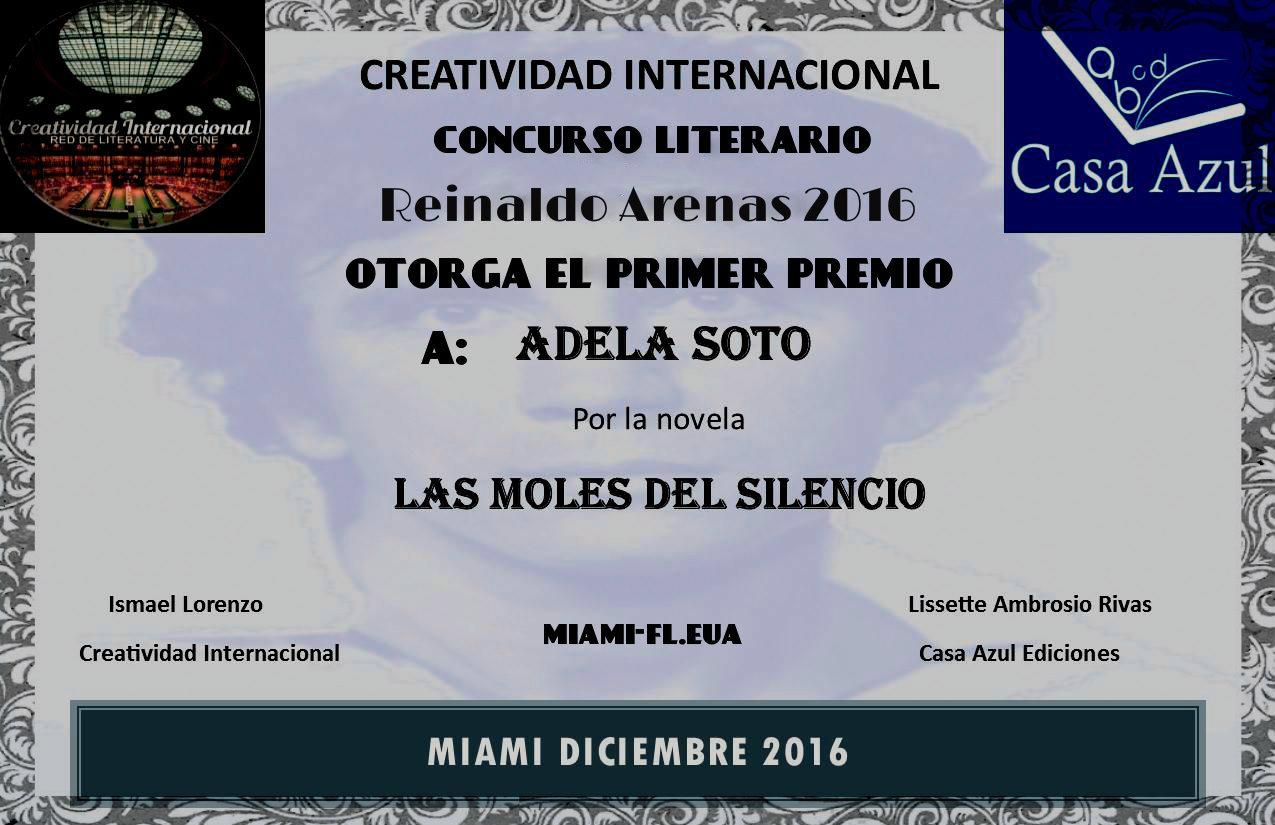 PREMIO REINALDO ARENAS 2016 (CREATIVIDAD INTERNACIONAL Y CASA AZUL EDICIONES EUROPA)