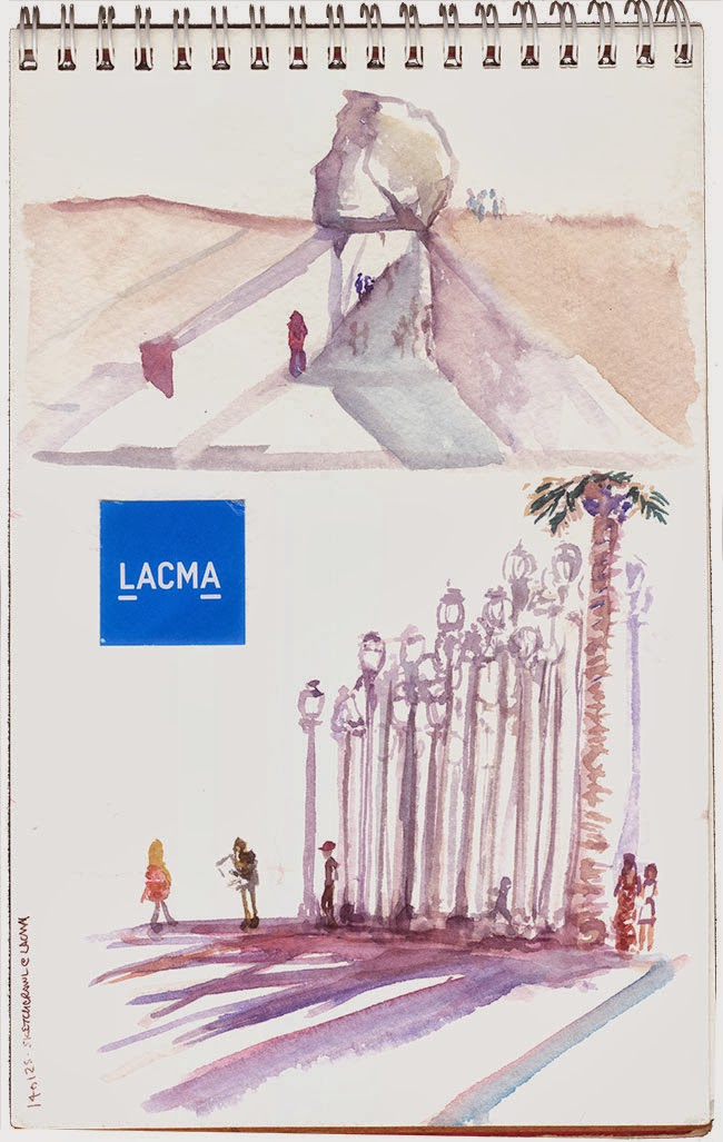 "Shiho Nakaza sketchcrawl ""Los Angeles"" LACMA sketching ""Urban Lights"" ""Levitated Mass"" watercolor"