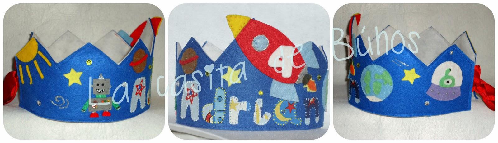 Corona cumpleaños en fieltro de cohetes - Felt Rocket birthday crown