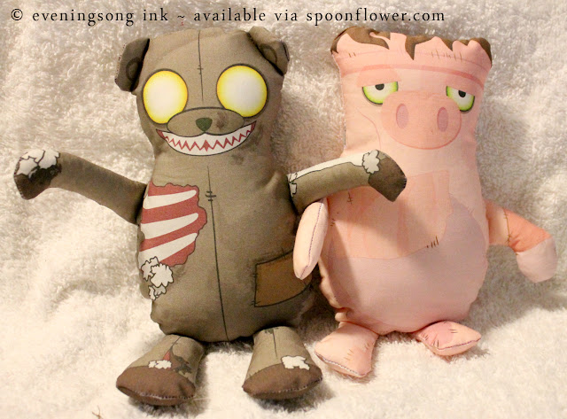 zombear and frankenswine eveningsong ink spoonflower fabric