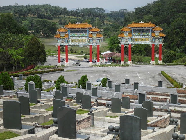 The rear view of the main entrance of Chinese cemetery while standing at the graveyard sites in Ipoh, Perak, Malaysia