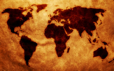 World Map on Old Paper Texture HD Wallpaper