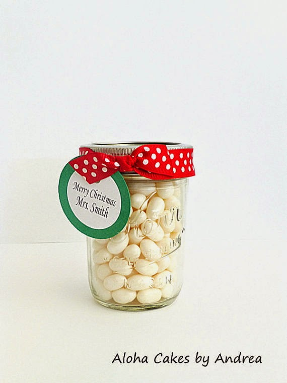 Teacher Gift, Stocking stuffer, Christmas Mason Jar, Coworker Gift, Red and Green Mason Jar, Personalized Gift, Candy Jar, set of 4